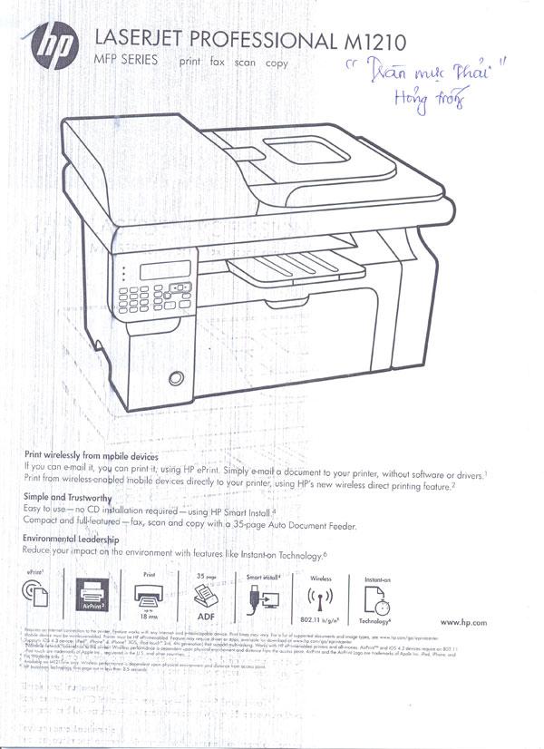 HP M1210 bị vệt đen