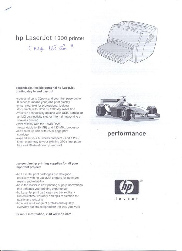 HP1300 nhòe chữ
