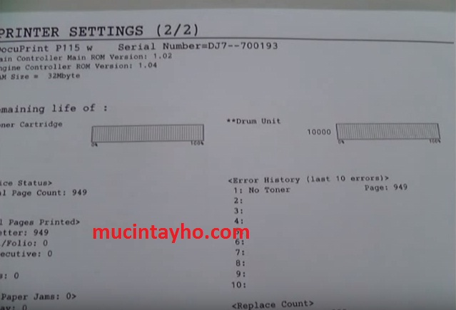 reset trống máy in xerox P115