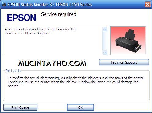 Reset máy in Epson L120