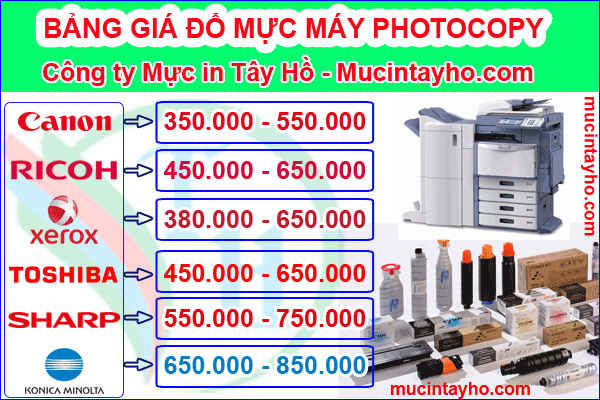 Bảng giá đổ mực máy photocopy xerox s2420