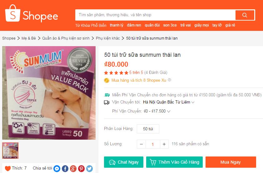100 túi trữ sữa sunmum giá 180k
