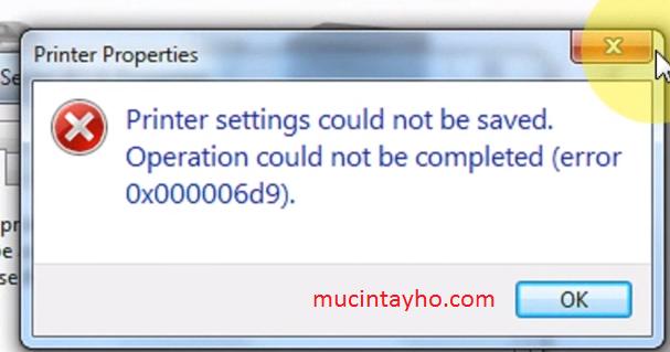 Lỗi 0x000006d9 khi chia sẻ máy in