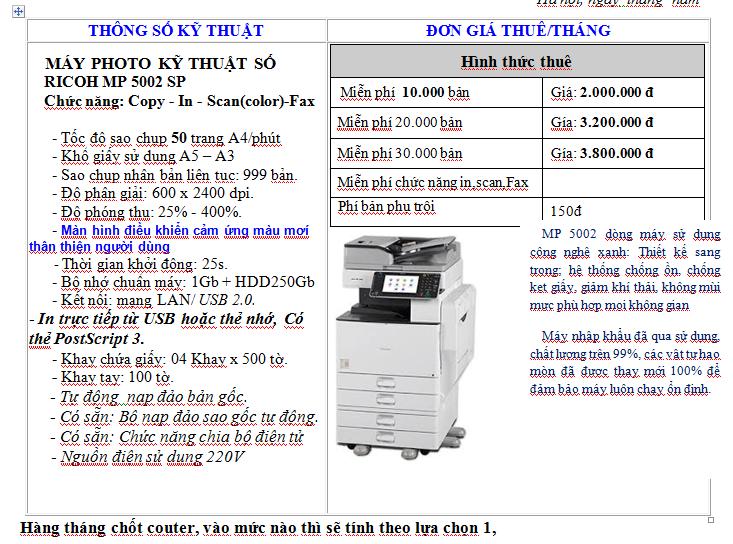 Cho thuê máy photocopy tại Đông Anh
